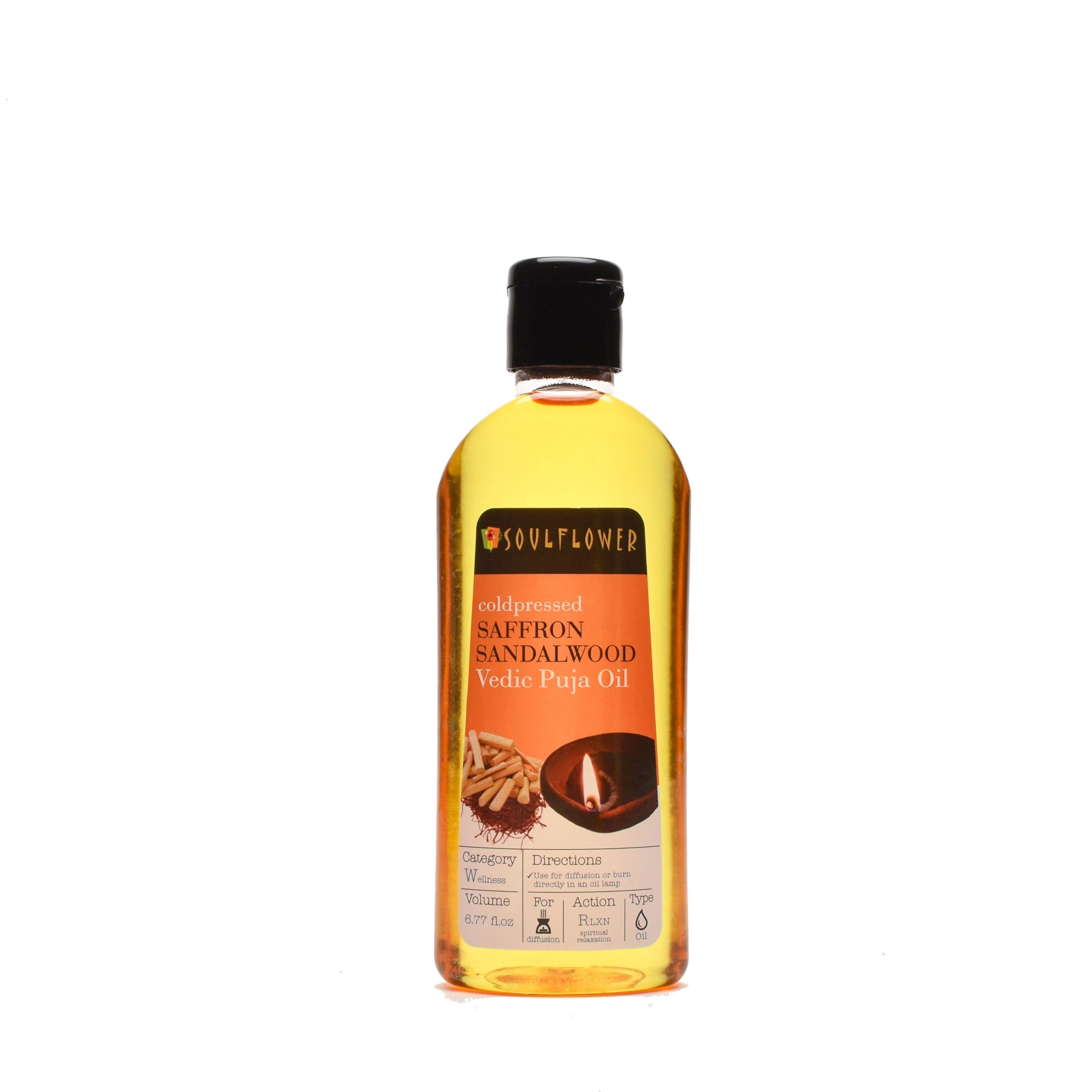 Saffron Sandalwood Vedic Puja Oil by Soulflower, 100% Pure and Natural Undiluted Ayurvedic Formulation,USFDA approved, Pure Sacred & Mystique for Altar & Lamps, 6.77 Fl.Oz, Vegan & Organic