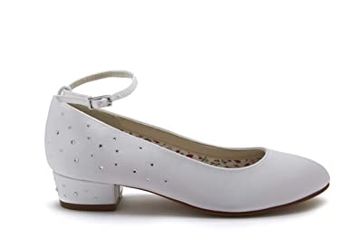 8236b5c78 Rainbow Club Maple - White Satin Diamante Heel Communion Shoes ...