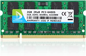 DUOMEIQI 2GB 2RX8 PC2-6300 PC2-6400 PC2-6400S DDR2 800MHz CL6 200 Pin 1.8v SODIMM Notebook RAM Non-ECC Unbuffered Laptop Memory Module Compatible with Intel AMD and MAC System
