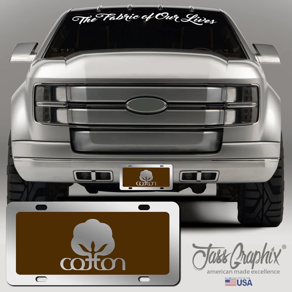 JASS GRAPHIX Royal Blue Cotton License Plate Mirror Acrylic Seal of Cotton Car Tag Available in Several Colors Perfect for Farmers