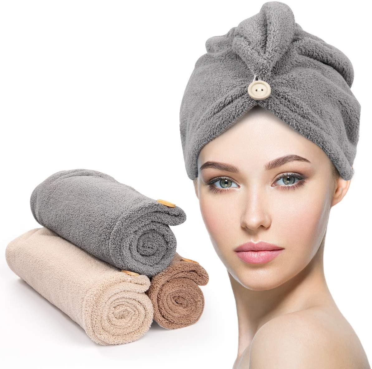 3 Pack Hair Drying Towels, Unimi Hair Towel with Button, Super Absorbent Microfiber Hair Towel for Curly Hair, Fast Drying Hair Wraps for Women Girls, Microfiber Towel for Hair, Gray & Brown & Camel