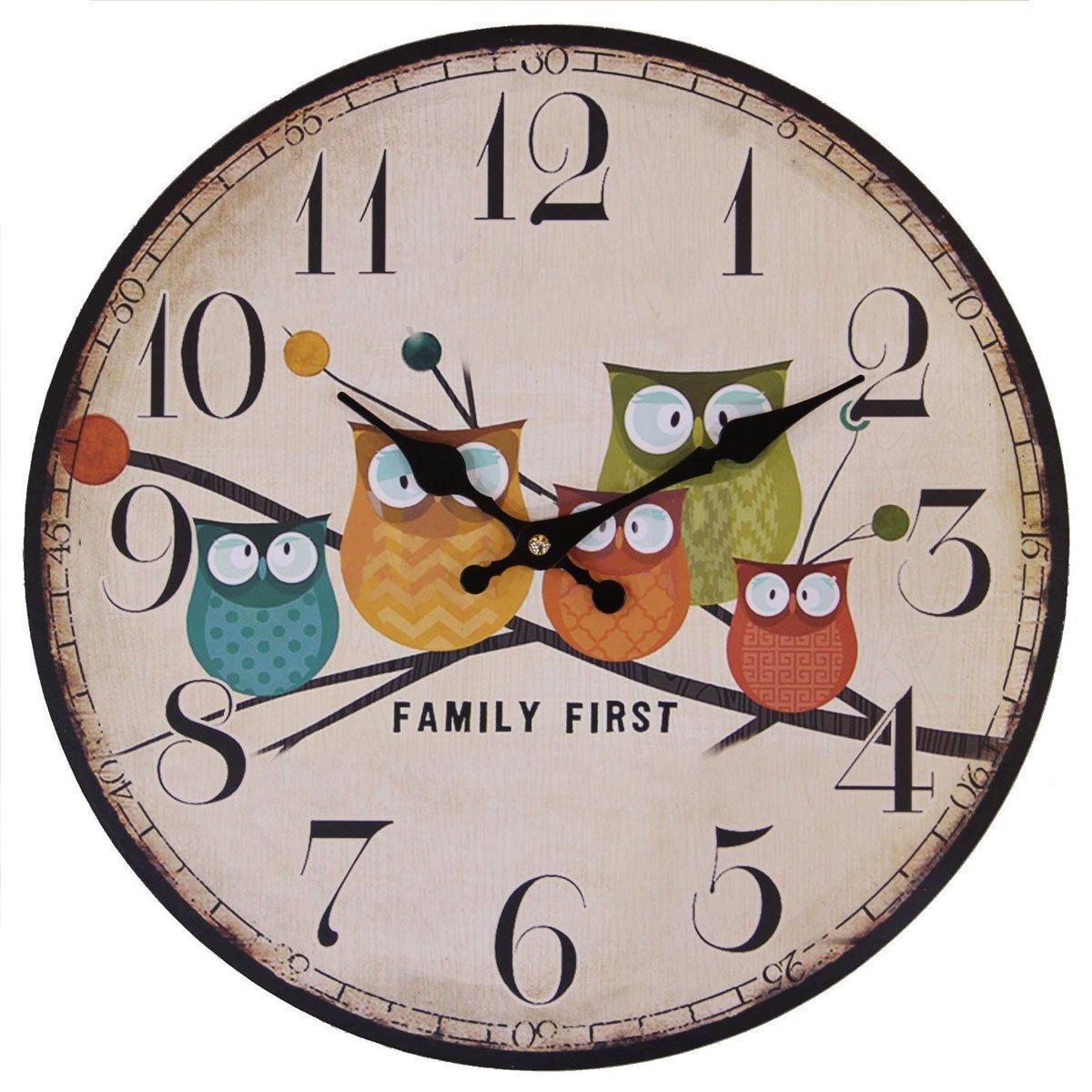 Besplore Children's Room Wall Clock, 12-Inch Eruner Painted Owls Animated Cartoon Wood Clock Bedroom Nursery Cute Style Silent Family Decoration Wall Art