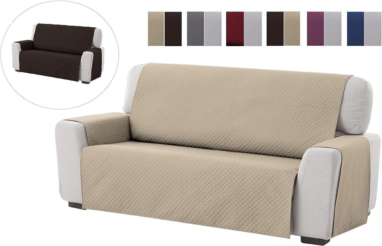 Textilhome - Funda Cubre Sofá Adele, 4 Plazas, Protector para Sofás Acolchado Reversible. Color Beige