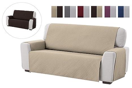textil-home Funda Cubre Sofá Adele, 3 Plazas, Protector para Sofás Acolchado Reversible. Color Beige