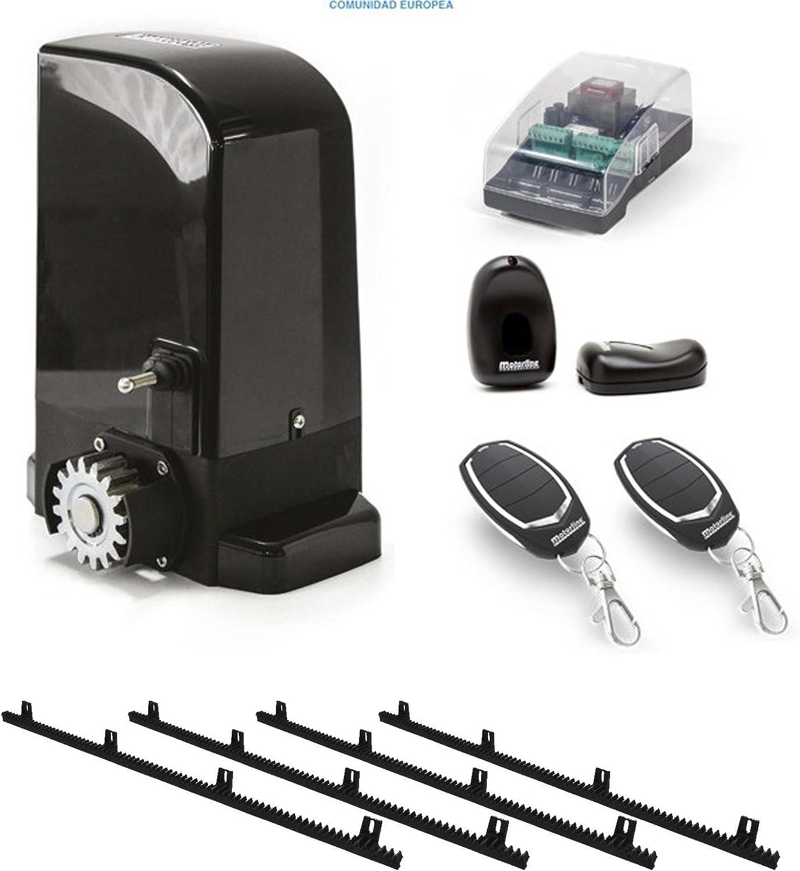 Kit Completo Motor corredera Profesional para automatizar Puertas y cancelas correderas de hasta 500 kg de Peso, con Cremallera de Nylon y Acero, fotocelula, mandos, y Placa de maniobras.