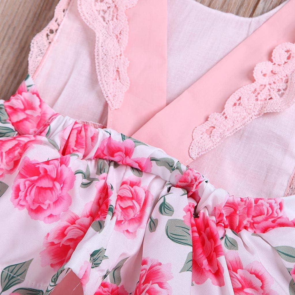 Blumenmuster Latzhose Mit Bogen Kleidung Set Allence Babykleidung M/ädchen Volltonfarbe Kurze /ÄRmel R/üSchen Oberteile