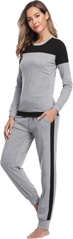 Aibrou Pijama Mujer Invierno Dos Piezas,Algod/ón Camiseta y Pantalones Largos Casual Ropa de Casa Dormir Suave y Comodo S-XXL