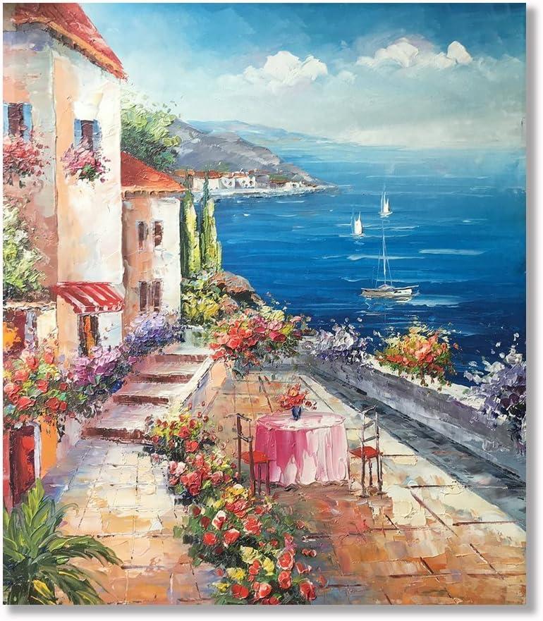 Amazon Com Vv Art 100 Hand Painted Oil Painting Italian Coast