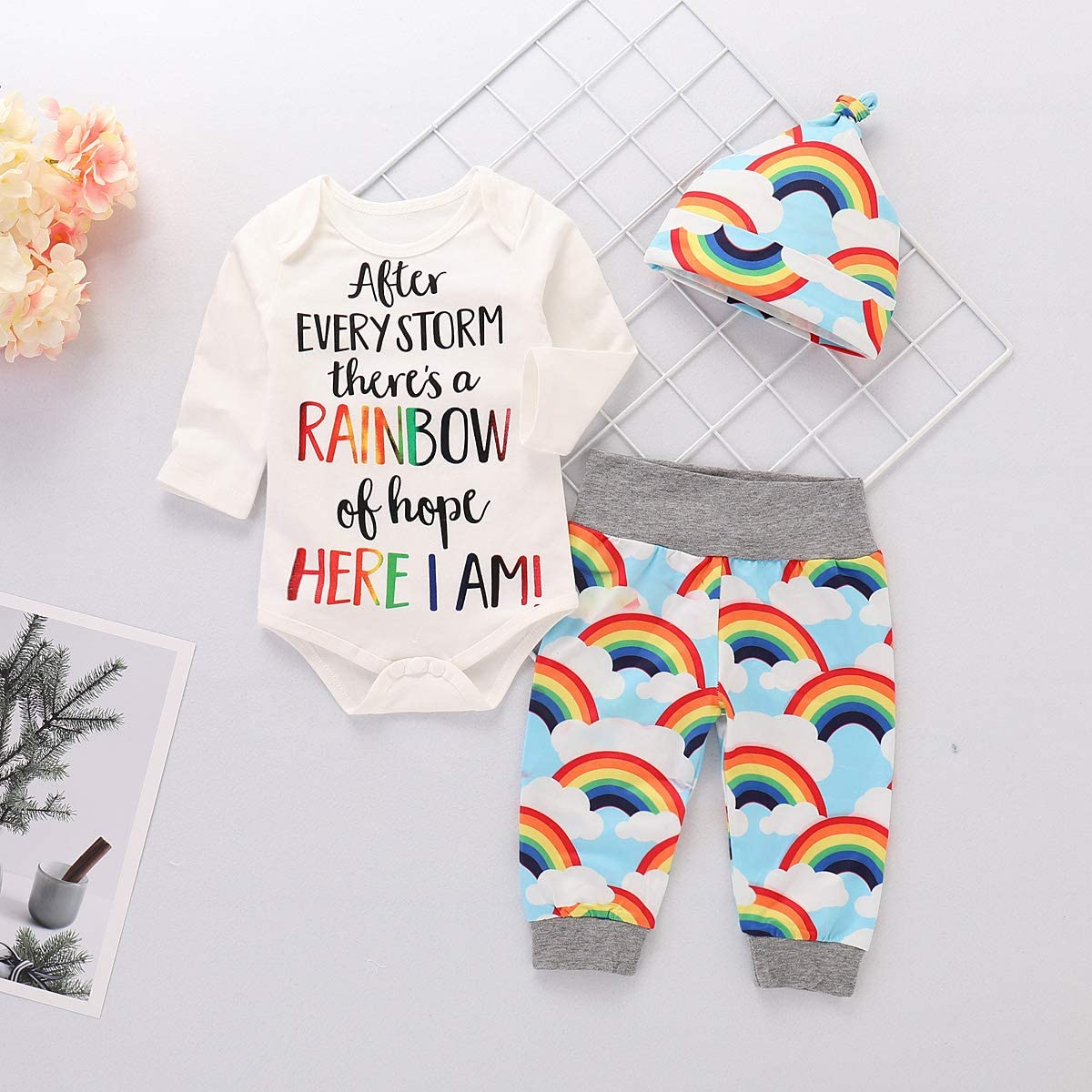 puseky Newborn Baby Boys Girls Outfits Letters Romper Jumpsuit Rainbow Pants Clothes Set