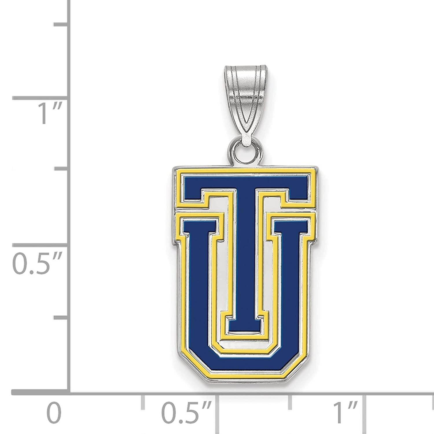 925 Sterling Silver Rhodium-plated Laser-cut The University of Tulsa Large Enameled Pendant