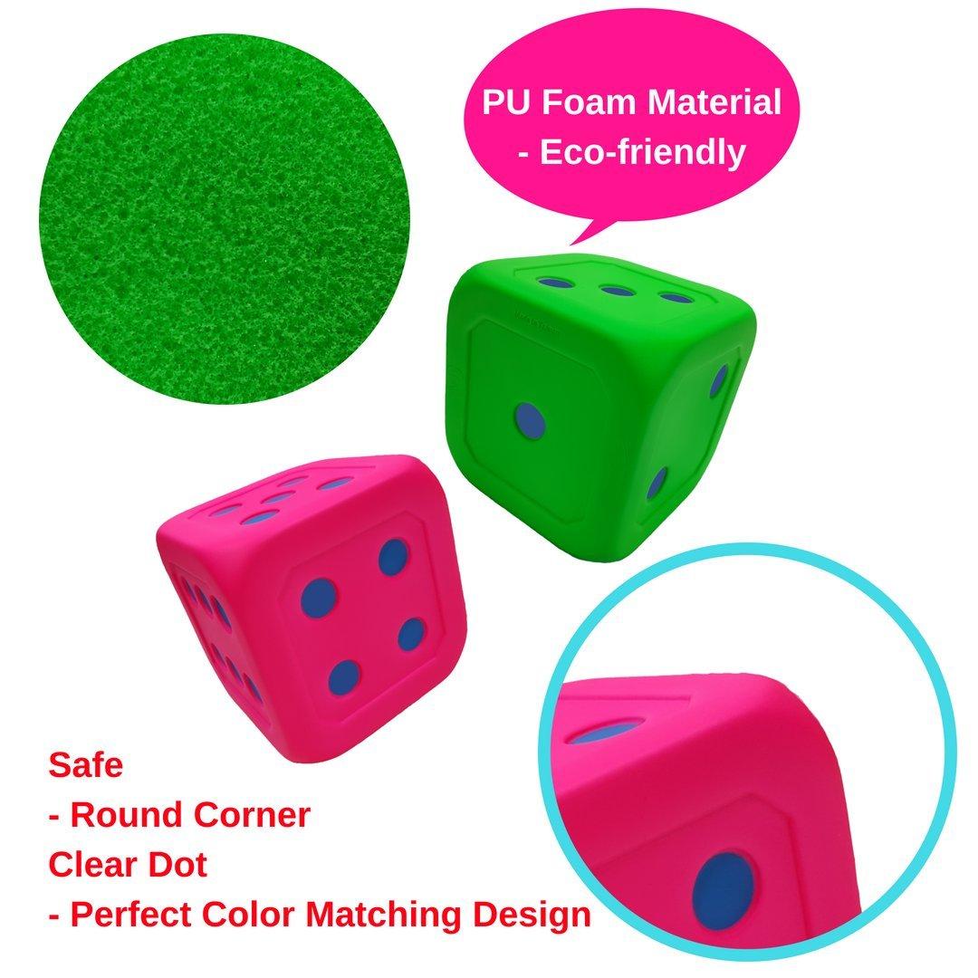 Macro Giant 6 Inch Soft Foam Jumbo Big Playing Dice, Set of 4,Neon Color, Math Teaching, Teaching Aids, Board Games, Kid Toy by MG MACRO GIANT (Image #3)