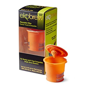 Ekobrew Classic Reusable Filter, Keurig 1.0 and 2.0 Compatible - Orange