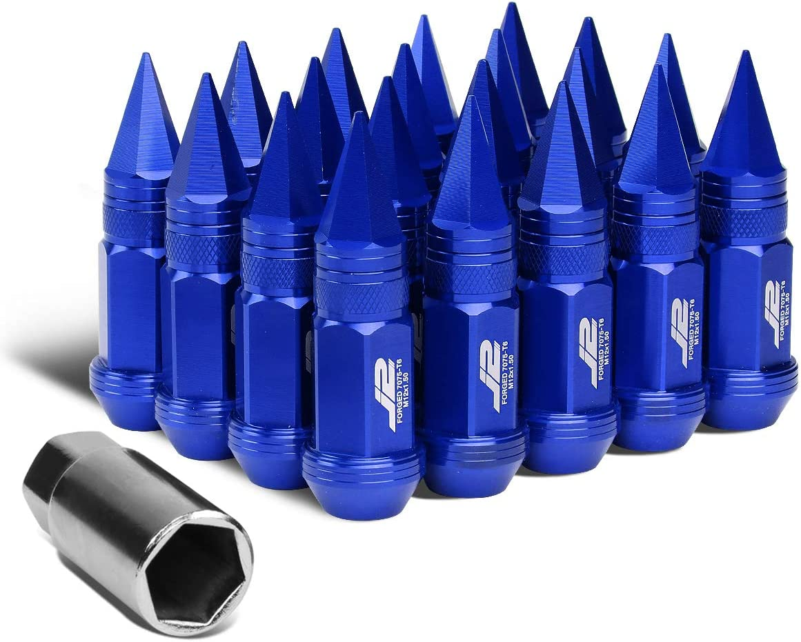 J2 Engineering 7075-T6 Replacement forged Aluminum M12X1.5 20Pcs 80mm Tall Spiky Cap Lug Nut Set w/Adapter Blue