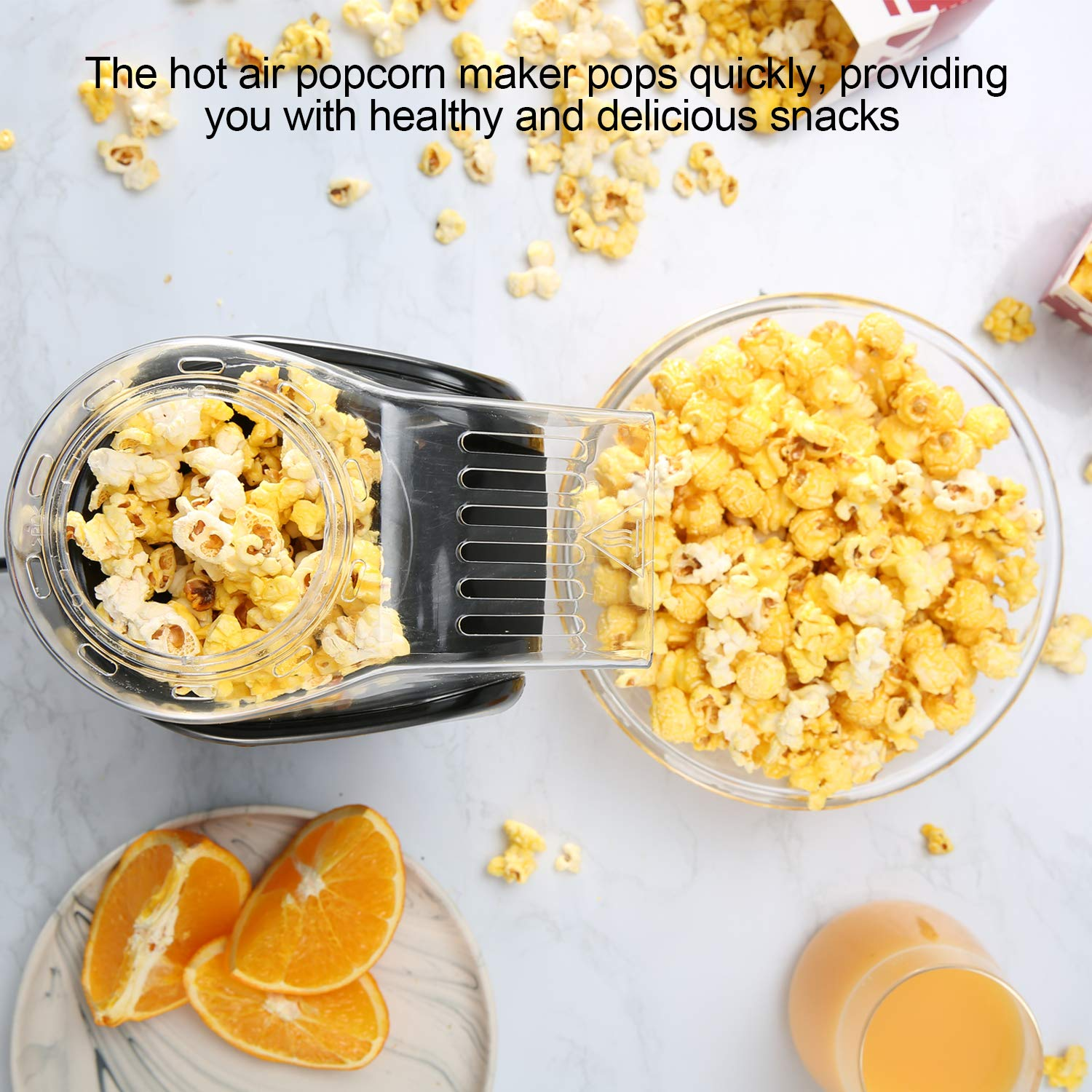 Amazon.com: Hot Air Popcorn Popper, Aicok 1200W Popcorn Maker with Measuring Cup, Removable Lid, No Oil Needed, FDA and ETL Approved, Black: Kitchen & ...