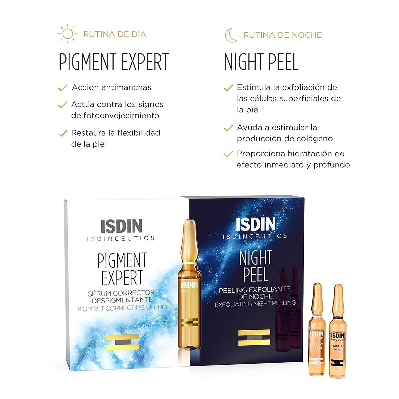 ISDIN Isdinceutics Day&Night Antimanchas Pigment Expert + Night Peel | Serum Corrector Despigmentante Facial y Peeling Exfoliante de Noche | Monodosis ...