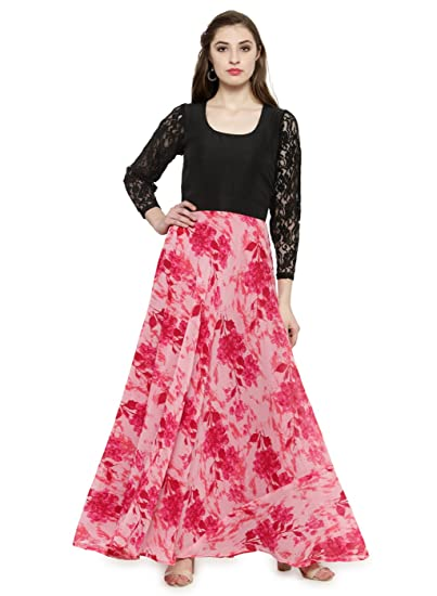 f5354edc97 Just Wow Pink Poly Georgette Women s Casual Maxi Dress (JW801 ...