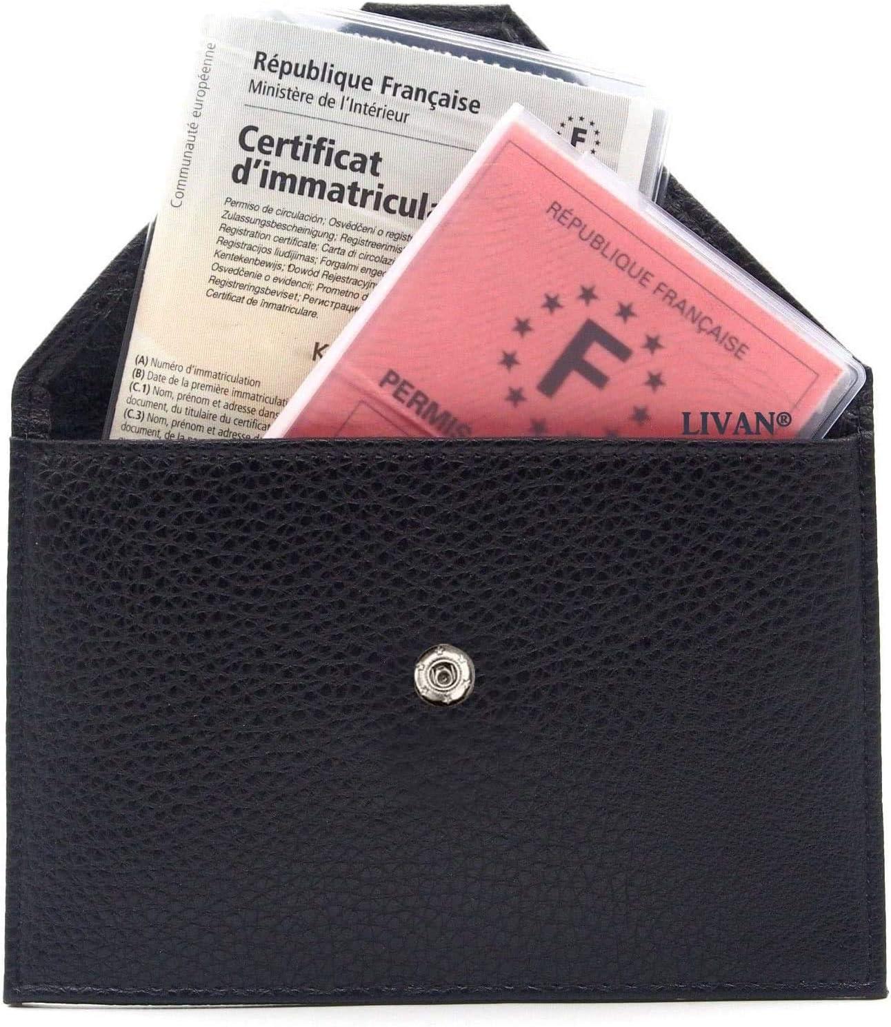 LA704 Etui Pochette Porte Permis de Conduire La Carte Grise Argent + RFID CNI /étui Protection Anti RFID//NFC Femme Homme Assurance Papier Voiture