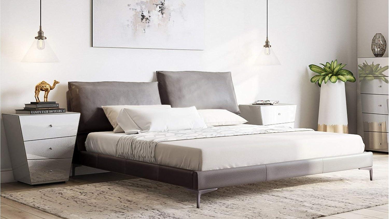 Astounding Amazon Com Zuri Furniture Apollo Grey Top Grain Leather Bed Inzonedesignstudio Interior Chair Design Inzonedesignstudiocom