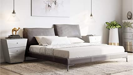 4fe4b8485a Zuri Furniture Apollo Grey Top Grain Leather Bed with Adjustable Headrests  - Queen