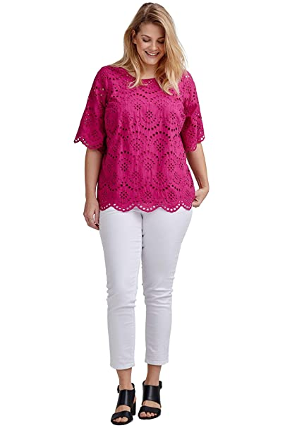 09dc8a44bd3 Ellos Women s Plus Size Scalloped Hem Eyelet Blouse at Amazon Women s  Clothing store