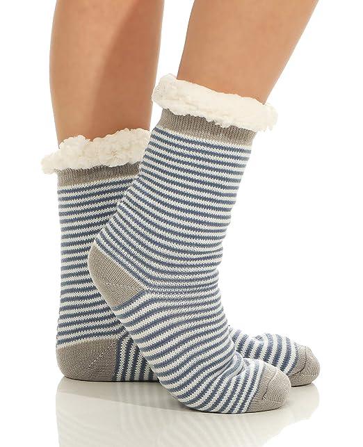 cleostyle - Calcetines de estar por casa - para mujer Blau/Streifen Talla única: Amazon.es: Ropa y accesorios