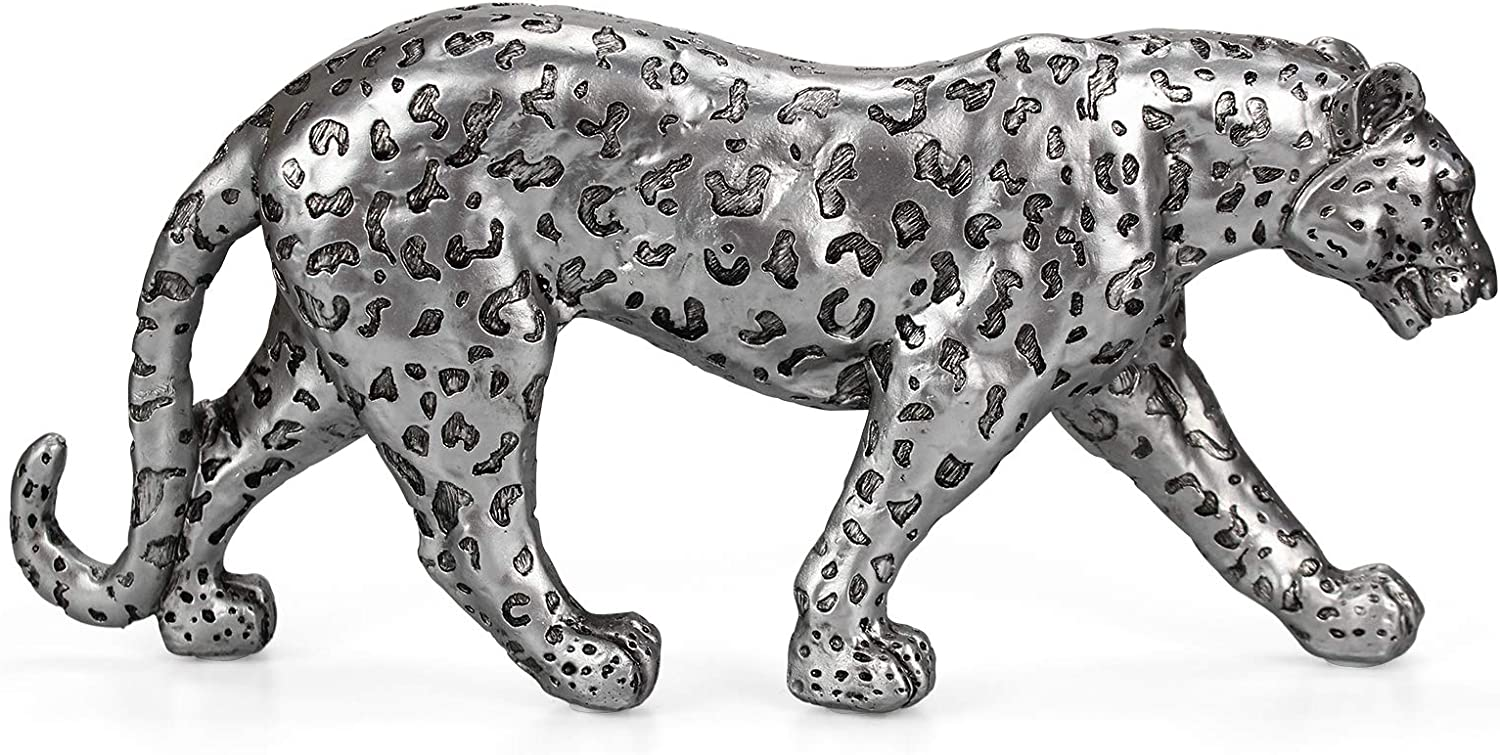 Modern Polyresin Cheetah Figurine Home Decor Realistic Antique Classical Leopard Resin Animal Ornament Statues Living Room Decor Ornament Figures,Silver 8.7