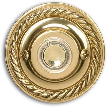 Heath Zenith SL-925-02 Wired Door Chime Push Button Antique Brass Lighted Center