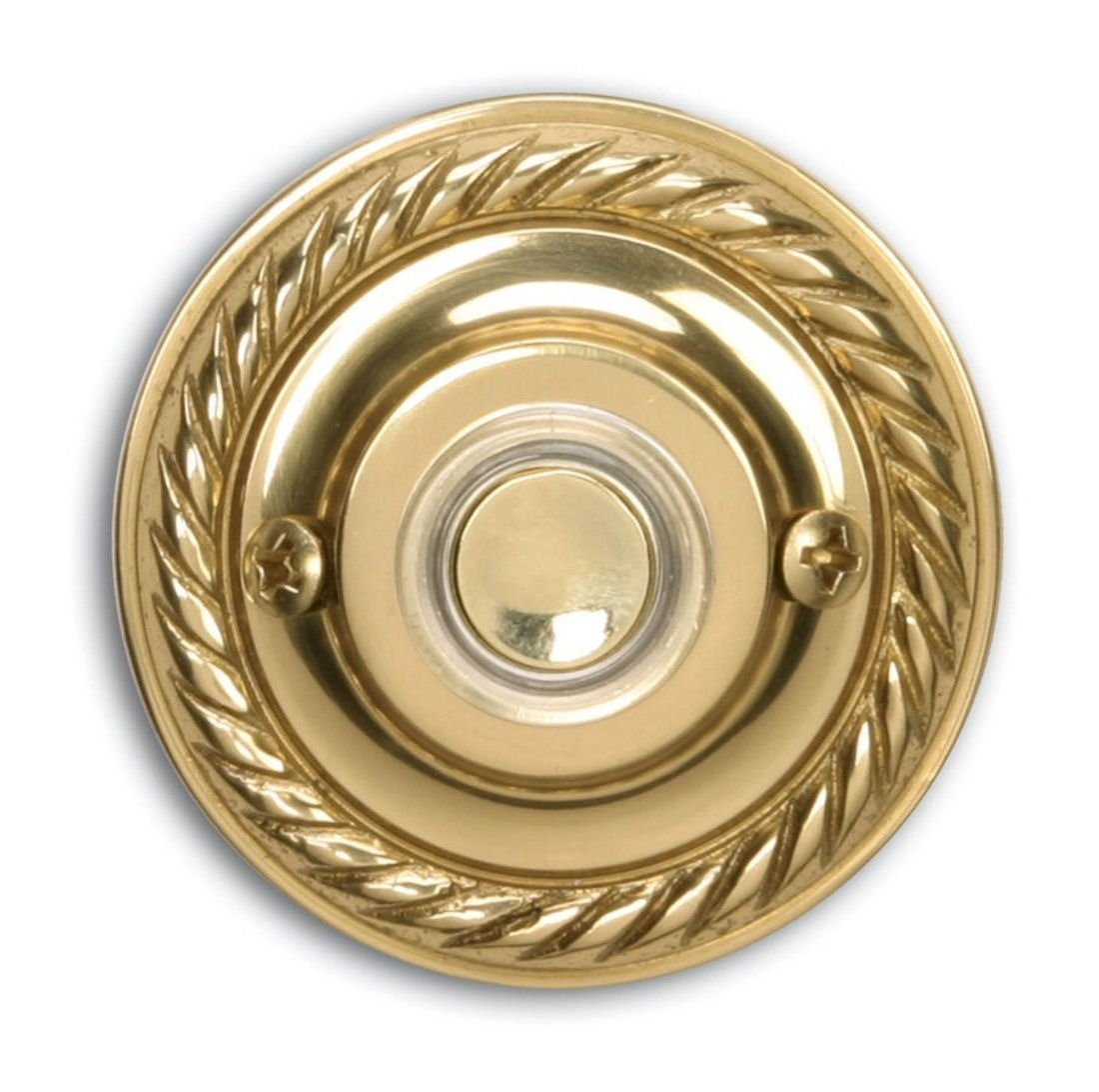 Heath Zenith 871PB-B Wired Push Button, Polished Brass Finish with Halo-Lighted Center Button