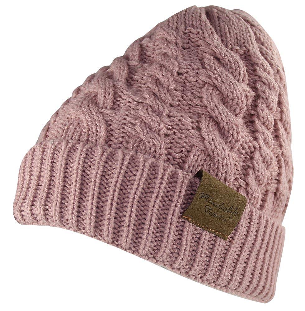2c81b5364ab minakolife Women s Winter Beanie Warm Fleece Lining-Thick Cable Knit Skull  Hat (Black)  Amazon.ca  Clothing   Accessories