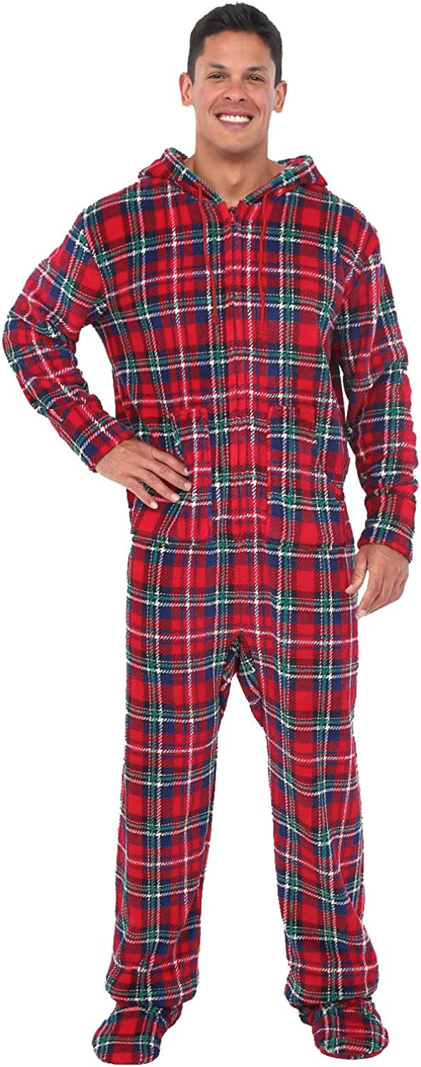 Men's Warm Fleece One Piece Footed Pajamas, Winter Christmas Onesie with Hood