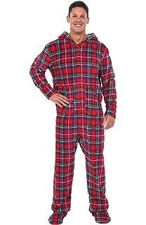 1a57102c4 SleepytimePjs Men s Sleepwear Fleece Hooded Footed Onesie Pajamas at ...