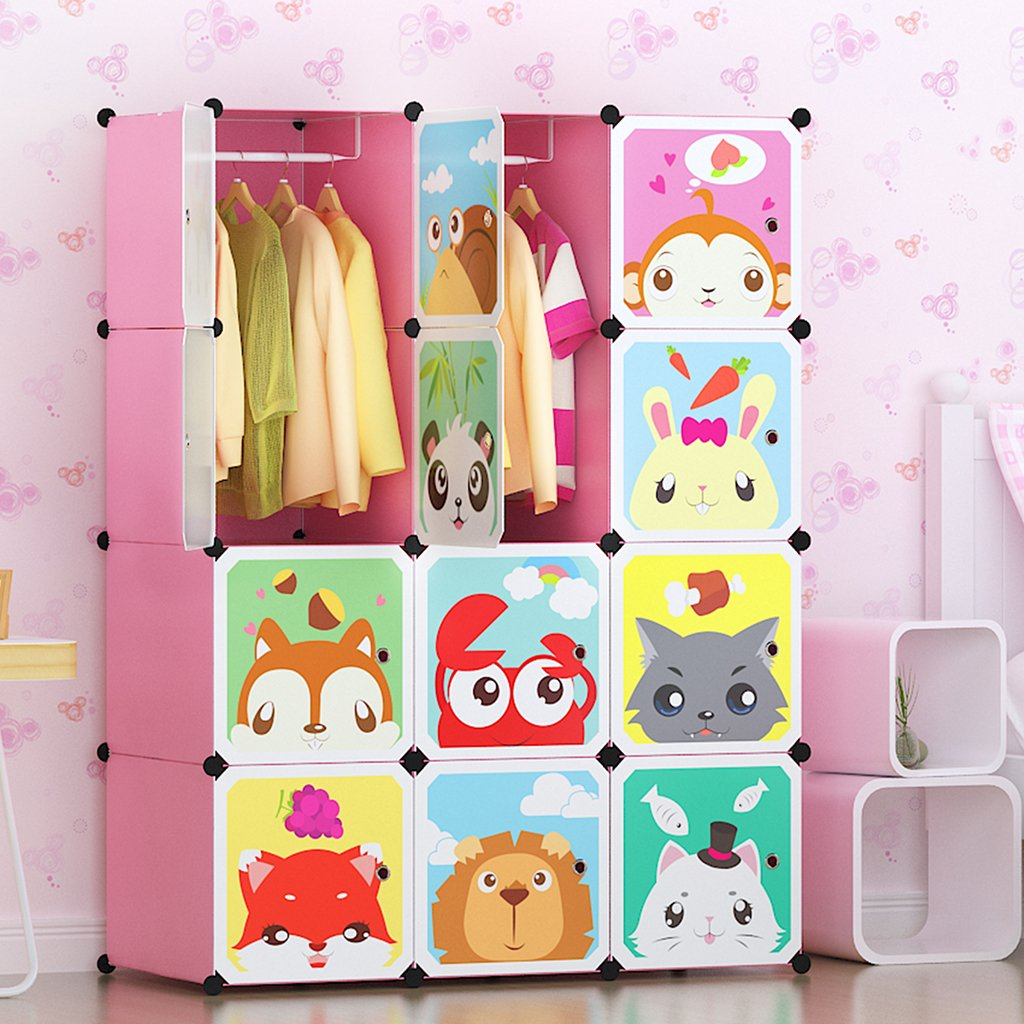 Tespo Portable Clothes Closet Wardrobe for Children and Kids  Cute Cartoon  DIY Modular Storage Organizer  Sturdy and Safe Construction  12 Deeper Cubes with Hanging Rods  Pink CB07AD