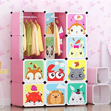 Tespo Portable Clothes Closet Wardrobe For Children And Kids Cute Cartoon DIY Modular Storage