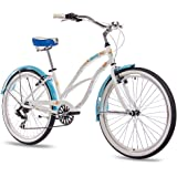 "26"" Inch BEACH CRUISER COMFORT Ladies BIKE CHRISSON SANDY with 6S SHIMANO TX white blue"