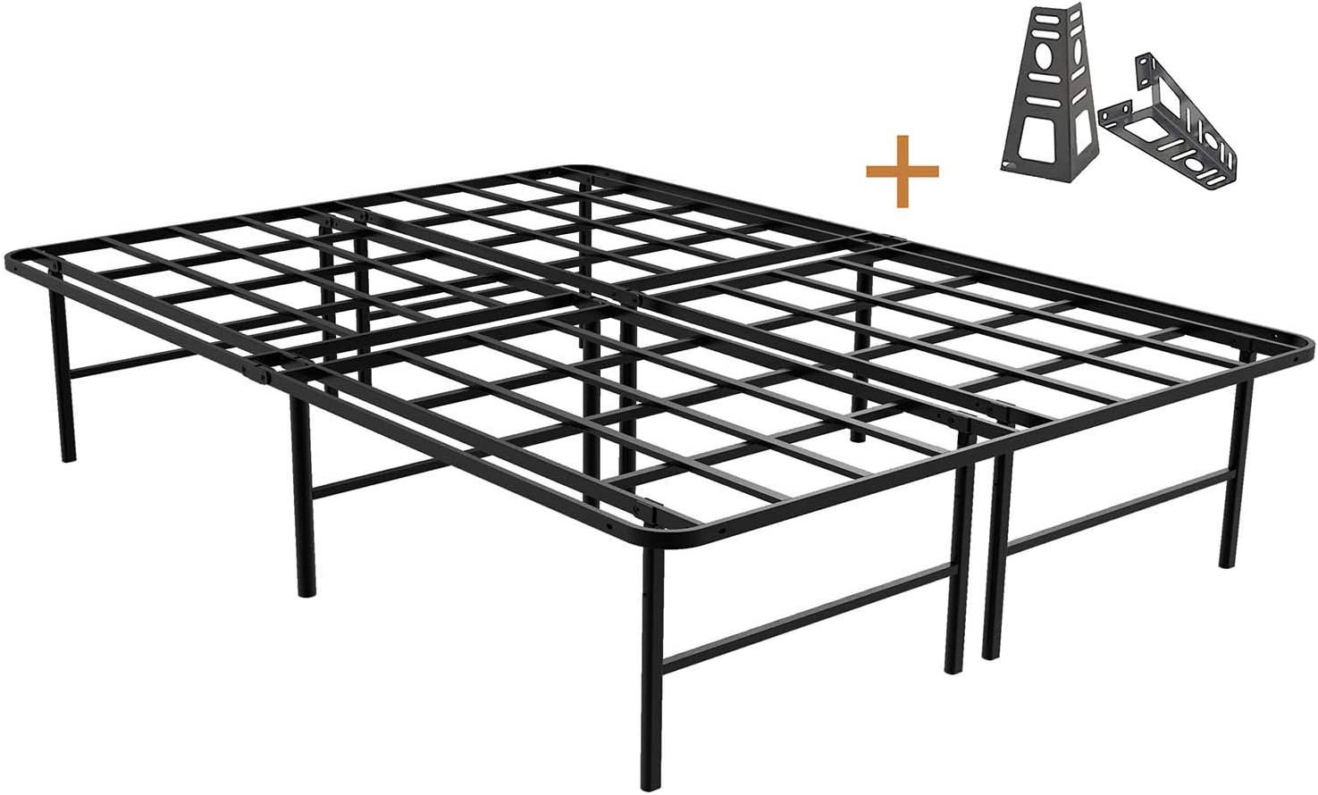 ZIYOO 16 Inch Platform Bed Frame Base, Mattress Foundation, Box Spring Replacement, Quiet Noise-Free, Headboard-Bracket Included, Queen
