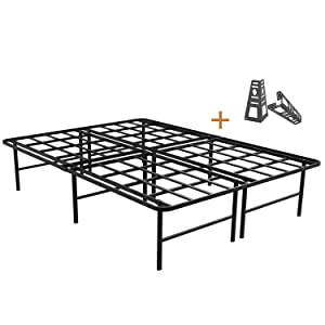 ZIYOO 16 Inch Platform Bed Frame Base, Mattress Foundation, Box Spring Replacement, Quiet Noise-Free, Headboard-Bracket Included, Full