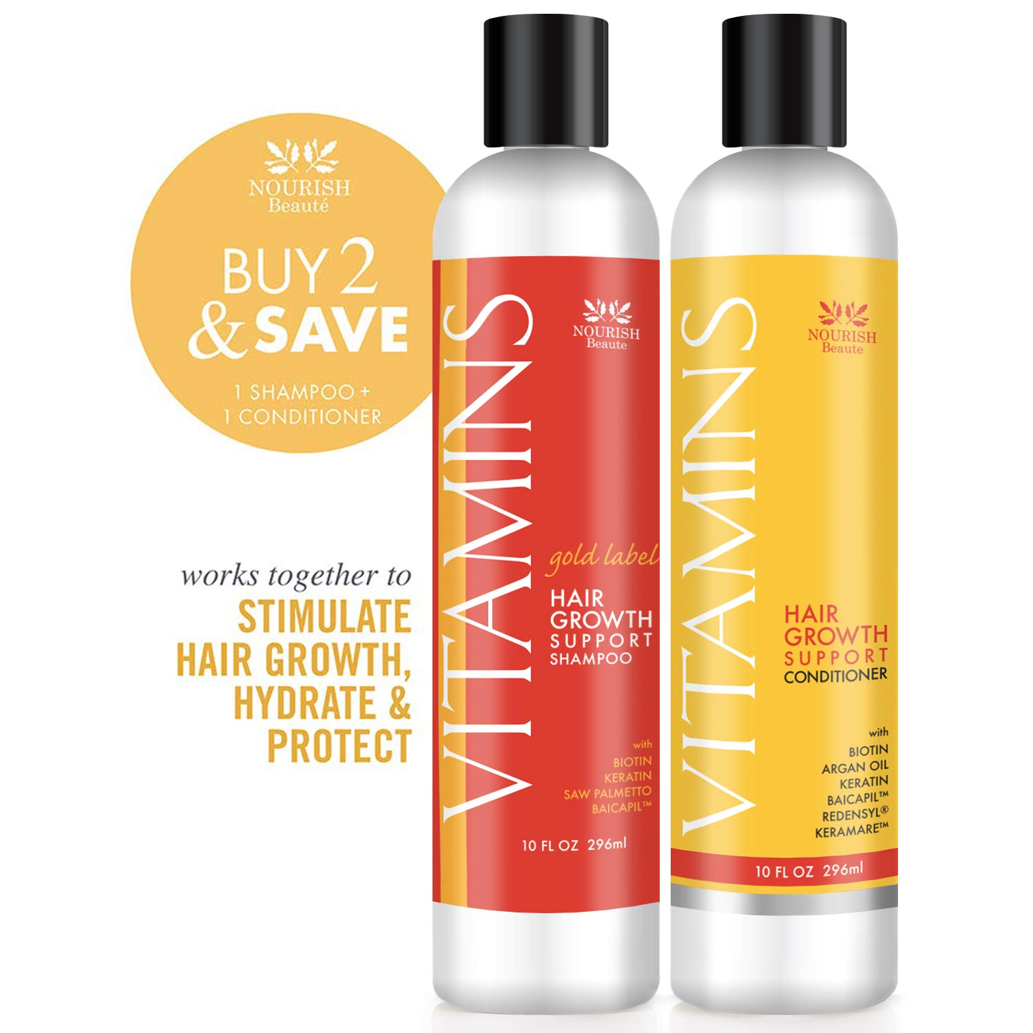 Nourish Beaute Vitamins Premium Shampoo and Conditioner for Hair Loss that Promotes Hair Regrowth For Men and Women, 1 10 Ounce