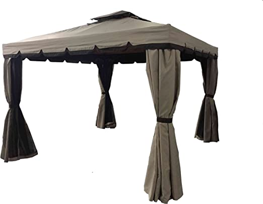 LuxuryGarden - Cenador de jardín de 3 x 4 metros, de aluminio con ...