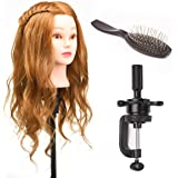 "22"" 80% Real Human Hair Hairdressing Training Head Dummy Head Salon Head + Clamp+Steel Comb"