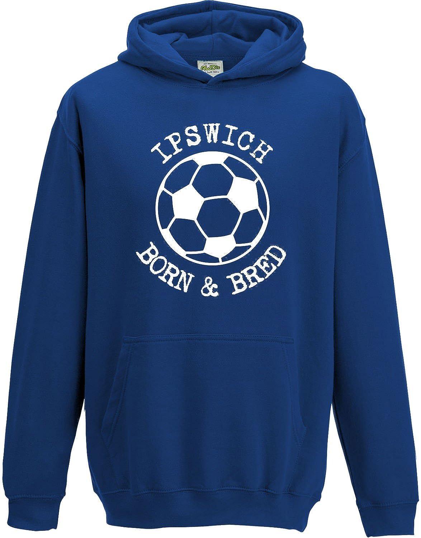 Hat-Trick Designs Ipswich Town Football Baby/Kids/Childrens Hoodie Sweatshirt-Royal Blue-Born & Bred-Unisex Gift