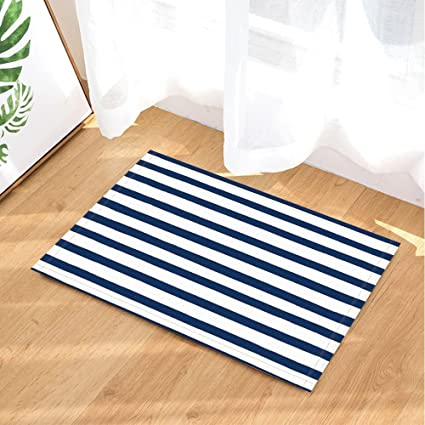GoHeBe Nautical Stripe Decor Bath Rugs Non Slip Doormat Floor Entryways Indoor  Front Door Mat
