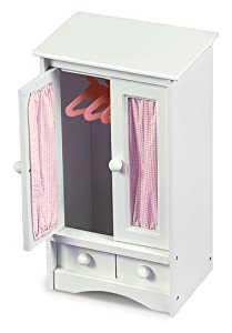 Badger Basket Doll Armoire with Three Hangers - White (fits American Girl Dolls)
