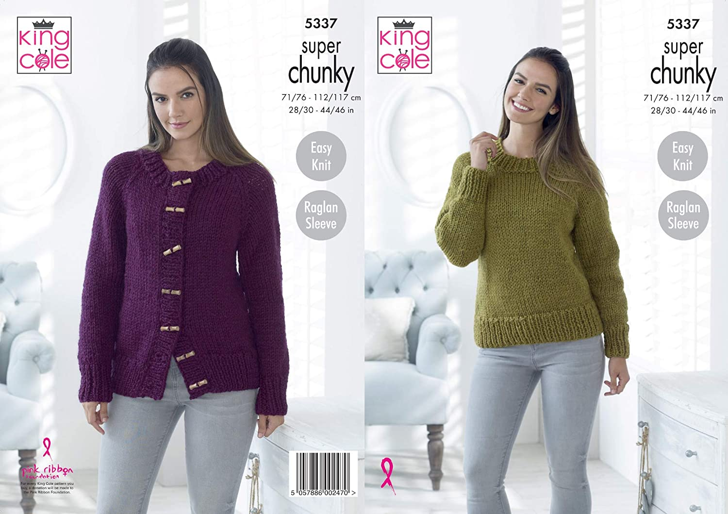 9b03c4d82a38 King Cole Ladies Super Chunky Knitting Pattern Easy Knit Raglan Sleeve  Sweater   Cardigan (5337)  Amazon.co.uk  Kitchen   Home