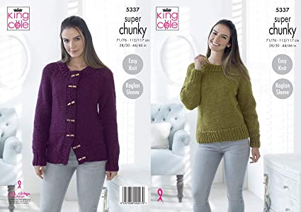 467034ef4 King Cole Ladies Super Chunky Knitting Pattern Easy Knit Raglan Sleeve  Sweater   Cardigan (5337)  Amazon.co.uk  Kitchen   Home