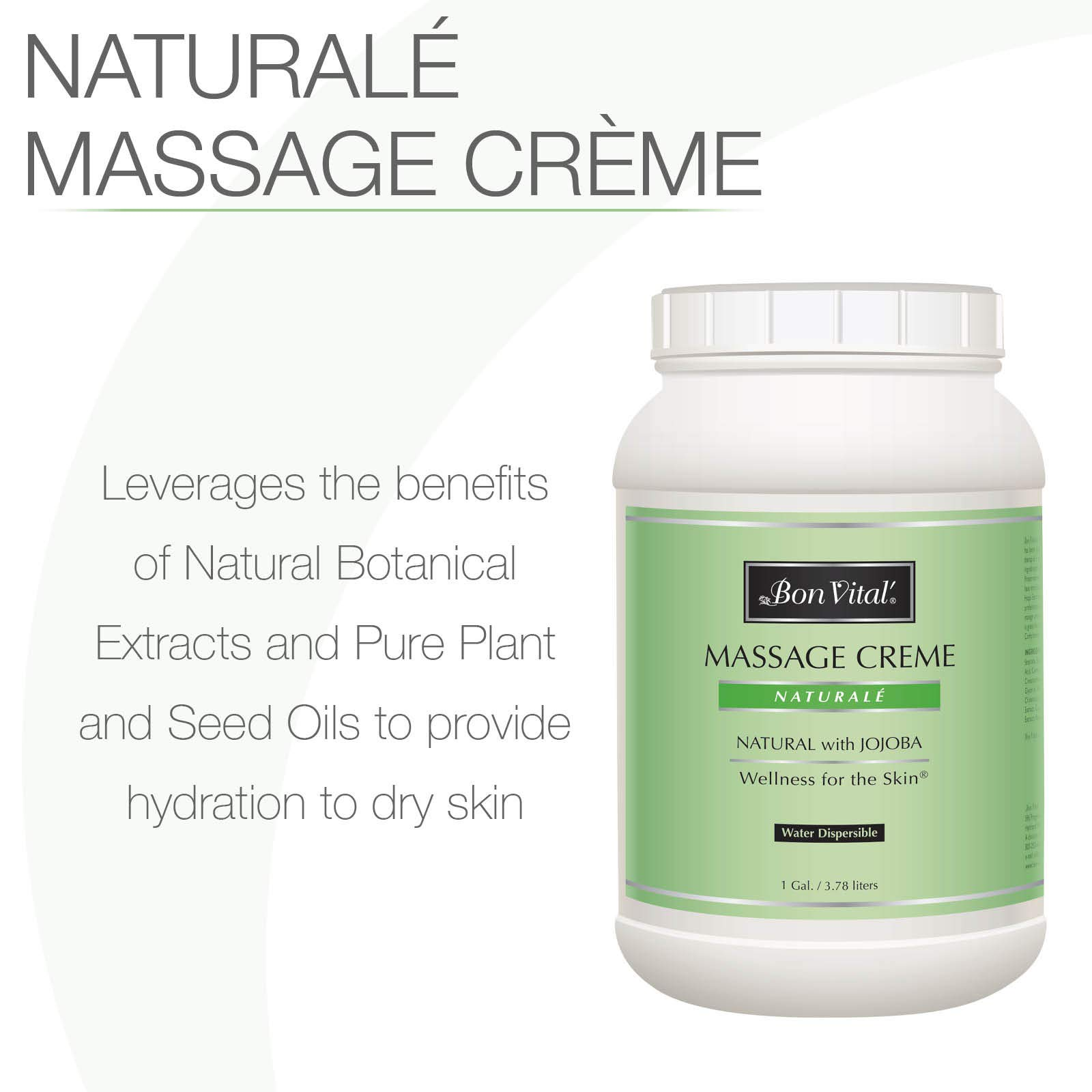 Bon Vital' Naturale Massage Crème, Professional Massage Therapy Cream with Natural Ingredients for an Earth-Friendly & Relaxing Massage, Full Body Daily Moisturizer for Smooth Skin, 1 Gallon Jar by Biofreeze (Image #2)