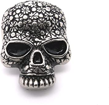 "Skull Head Floral Screwback Concho Antique Silver 1/"" 3436-21 by Stecksstore"