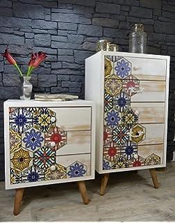 Elbmobel Kommode Sideboard Vintage Aus Holz Mit Bunten Schubladen Im