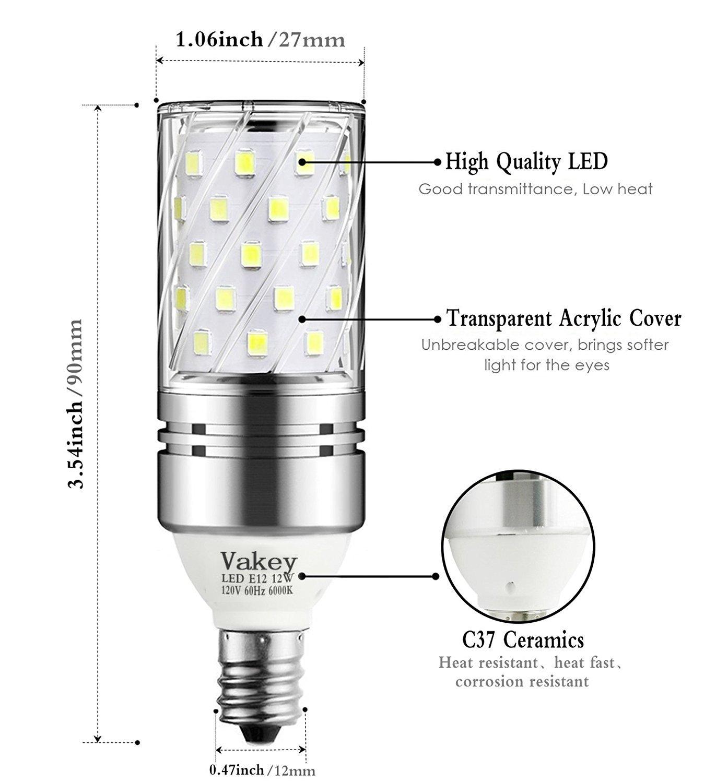 E12 Led Light Bulb: Vakey E12 LED Bulbs,12W LED Candelabra Light Bulbs 100