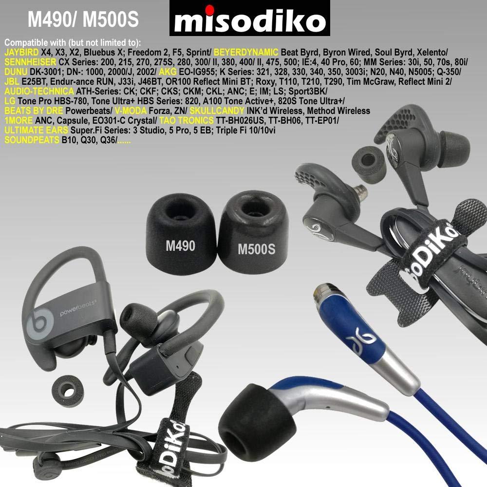 misodiko M410S Cuscinetti in Memory Foam per Cuffie Auricolari 3 Coppie, M CX 3.00 5.00i// Beoplay H3 H5 E4 E6// SONY RHA MA390 MA600 MA650 MA750 T10i T20i// Sennheiser Momentum In Ear