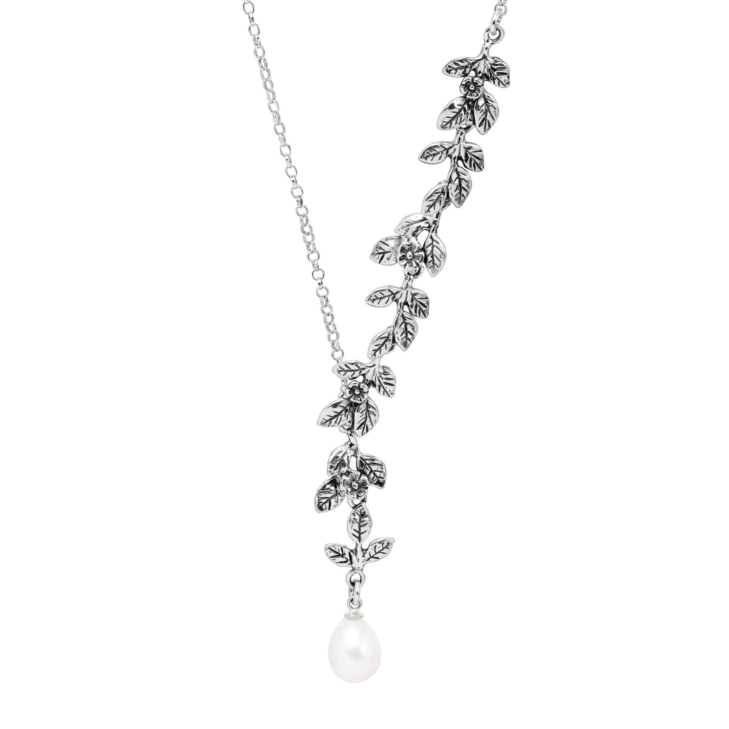 Silpada 'Winds of Change' 7 mm Freshwater Cultured Pearl & Cascading Vine Necklace in Sterling Silver